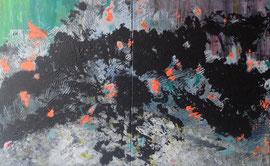 Abstract Worlds 042920 Acryl und Tusche auf LW in 100x160 (2x100x80)