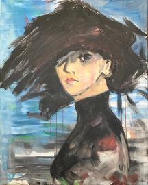 Dame in Schwarz, Acryl auf Leinen, 80 x 100 cm