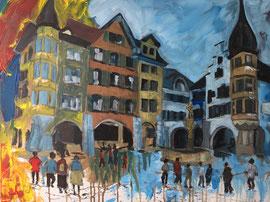 Biel Altstadt, Acryl auf Leinen, 60 x 80 cm