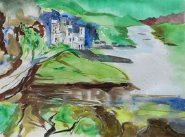 ein Schloss am Meer (Fantasie), Aquarell, ca. 55. x 60 cm