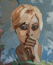Junge Frau, Acryl auf Leinen, 50 x 60 cm