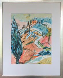 Toscana 2, Aquarell, 40 x 50 cm mit Rahmen und PP