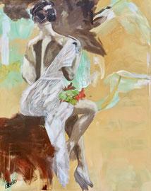 Dame in Weiss, Acryl auf Leinen, 80 x 100 cm