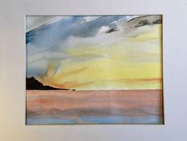 am Meer, Aquarell mit Rahmen und PP, 40 x 50 cm