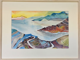 Sonnenaufgang am Meer (Fantasie), Aquarell, 60 x 80 cm mirt Rahmen und Passepartout