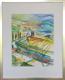 Toscana, Aquarell, ca. 40 x 50 cm mit Rahmen und Passepartout