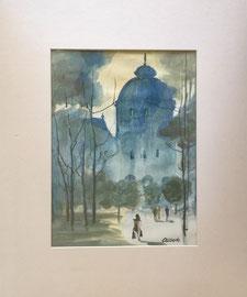 Paris, Aquarell, ca. 30 x 50 cm ohne PP