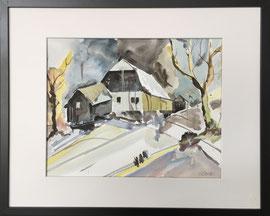 Farmhouse, Aquarell mit Rahmen und PP, 40x 50 cm