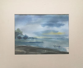 Seelandschaft, Aquarell, ca. 30 x 50 cm ohne PP