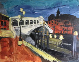 Venezia, Ponte Rialto, Mischtechnik Acryl/Oel auf Leinen, 80 x 100 cm