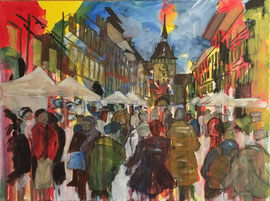 Bern, Zibelemärit, Acryl auf Leinen, 60 x 80 cm, VERKAUFT