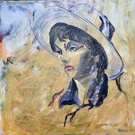 Mädchen mit Hut, Acryl auf Leinen, 100 x 100 cm