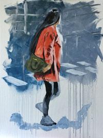 Fussgängerin, Acryl auf Leinen, 60 x 80 cm