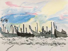 Gondole, Aquarell, ca. 40 x 50 cm