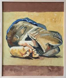 Schlafender Junge, Mischtechnik Acryl/Oel auf Leinen, 50 x 60 cm