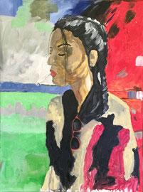 junge Frau mit Zigi, Acryl auf Leinen, 60 x 80 cm