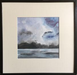 Landscape, Aquarell, mit Rahmen und PP, 60 x 60 cm