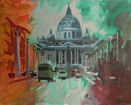 Rom, Petersdom, Acryl auf Leinen, 80 x 100 cm