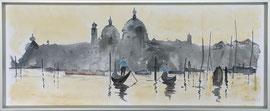 Venezia, Aquarell, ca. 30 x 80 cm mit Galerie-Rahmen