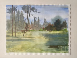 Landschaft, Aquarell, ca. 40 x 50 cm