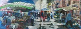 Markt, Acryl auf Leinen, 60 x 160 cm (zwei Leinwände)