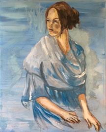 Dame in Blau, Acryl auf Leinen, 80 x 100 cm