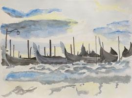 Hochwasser in Venedig, Aquarell, ca. 40 x 50 cm