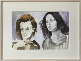 Freundinnen, Aquarell, 60 x 80 cm, mit Rahmen und PP