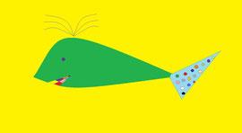 Balena verde con coda a pois