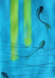 Acrylique et crayons aquarelle sur papier, 50x70cm