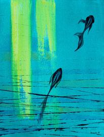 Acrylique et crayons aquarelle sur papier, 40x50cm