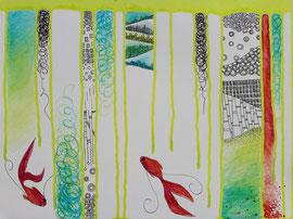 Acrylique, feutre et crayons aquarelle sur papier, 40x50cm