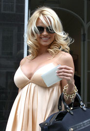 Pamela Anderson leaving Stella McCartney store. London UK