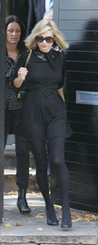 Kate Moss leaving for funeral. London UK