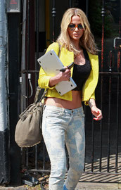 Sarah Harding leaving home London UK
