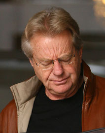 Jerry Springer leaving Soho Hotel. London UK