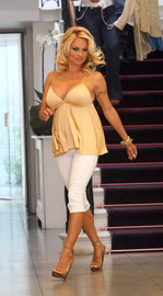 Pamela Anderson shopping at Stella McCartney store. London UK