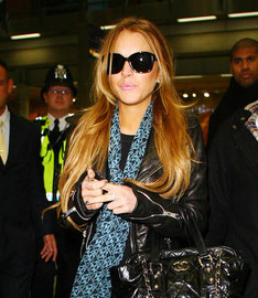Lindsey Lohan arriving at Eurostar. London UK