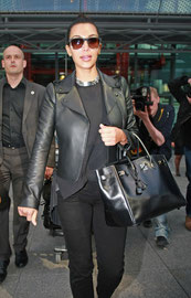 Kim Kardashian arriving at Heathrow Airport London UK