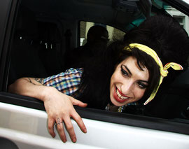 Amy Winehouse returning from a prison visit. Pentonville, London UK