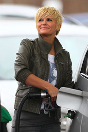 Kerry Katona filling up at the gas station Oxted Surrey UK