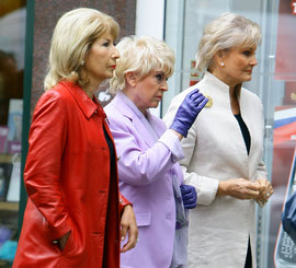 Angella Rippon, Gloria Hunnerford and Jennie Bond out in London UK