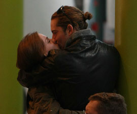 David Bisbal and Raquel Jimenez Kiss