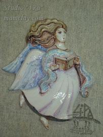"""2-09.  Керамическое панно ручной работы """"Ангел""""."""