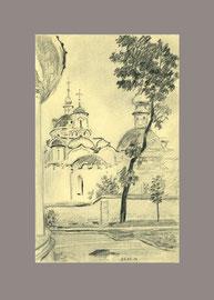 Церковь св. Антипы Пергамского на Колымажном дворе. 2014. Бумага, карандаш. 14 х 9