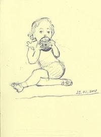 Девочка. 2018. Тонированная бумага, карандаш. 14 х 12
