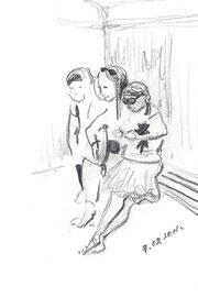 Три сестры. 2018. Бумага, карандаш. 12 х 7. Мелихово