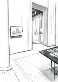 Выставка. 2014. Бумага, карандаш. 21 х 15. Музей архитектуры им. Щусева.