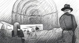 Лекция Фуксаса. 2016. Бумага, карандаш. 8 х 14.