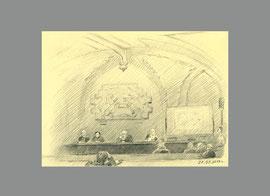 В актовом зале Историко-архивного института. 2013. Бумага, карандаш. 9 х 12